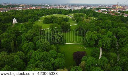 English Garden In The City Of Munich Aerial View From Above - Drone Photography