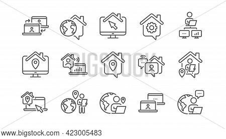 Work At Home Line Icons. Office Employee, Remote Worker And Freelance Job. Stay At Home, Internet Wo