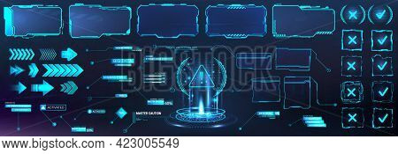Futuristic Frame Border In Hud Style For Gui, Ui, Ux And Web Design. Callouts, Arrows, Labels, Infor