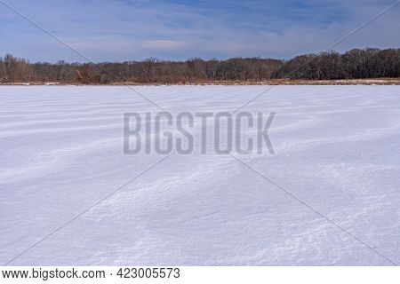 Frozen Waves On A Frozen Lake In Ned Brown Preserve In Illinois