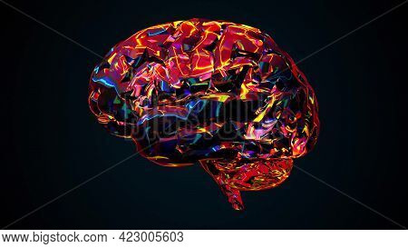 Bright Digital 3d Render Intelligence With Shimmering Synapse Tracks. Futuristic Artificial Mind Wit