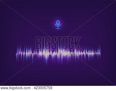Voice Assistant Ai And Equalizer Sound Recognition. Futuristic Sound Wave Concept. Futuristic Freque