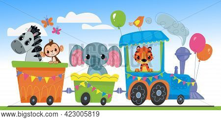 Cartoon Steam Locomotive With Cute Animals Rides Against The Blue Sky. Banner With Railway Transport