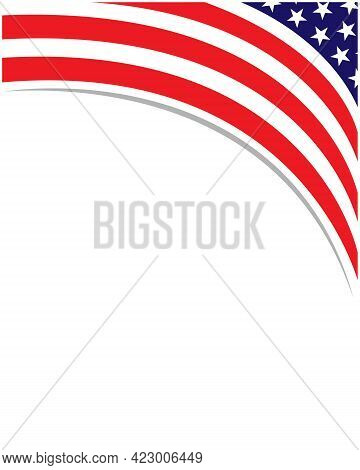 American Abstract Flag Corner Banner Border With An Empty Space For Text.