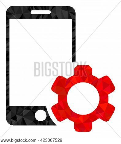 Low-poly Smartphone Repair Gear Constructed With Chaotic Filled Triangles. Triangle Smartphone Repai