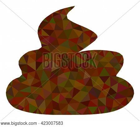 Low-poly Shit Combined From Randomized Filled Triangles. Triangle Shit Polygonal Icon Illustration.
