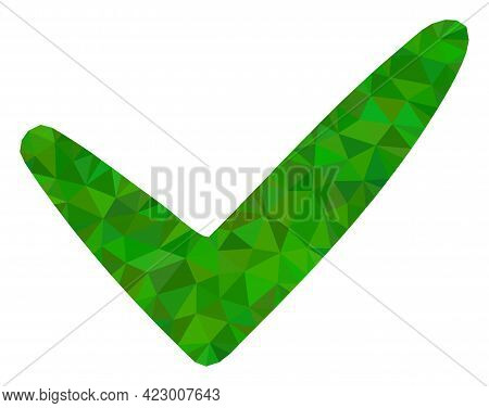 Low-poly Yes Constructed With Scattered Filled Triangles. Triangle Yes Polygonal Icon Illustration.