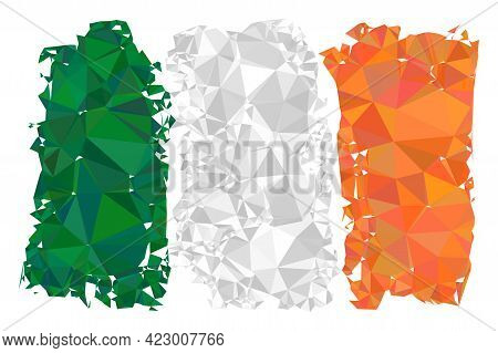 Low-poly Irland Flag Combined From Random Filled Triangles. Triangle Irland Flag Polygonal Icon Illu