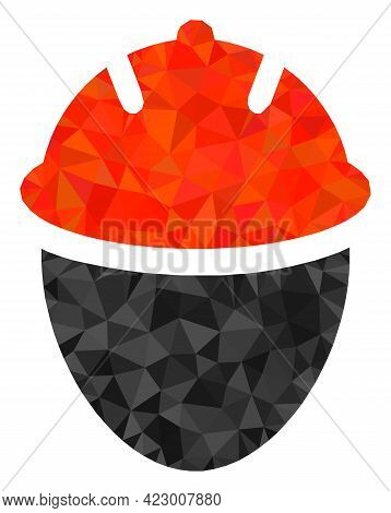 Low-poly Worker Head Combined With Scattered Filled Triangles. Triangle Worker Head Polygonal Icon I