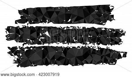 Low-poly Charcoal Texture Template Designed With Random Filled Triangles. Triangle Charcoal Texture