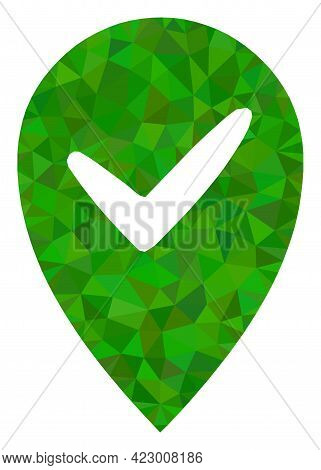 Low-poly Valid Place Constructed Of Scattered Filled Triangles. Triangle Valid Place Polygonal Icon