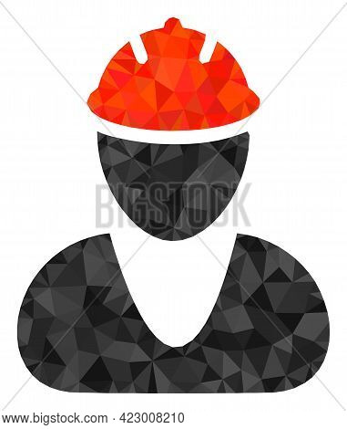 Low-poly Worker Combined With Scattered Filled Triangles. Triangle Worker Polygonal Icon Illustratio