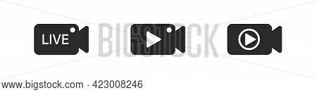 Video Social Live Cam Media Icon Button Set In Camera Shape, Broadcast Multimedia Technology Symbol