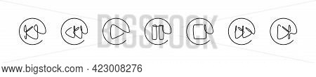 One Line Media Button Set, Linear Play Pause Stop And Forward Icon Collection Vector Illustration.
