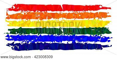 Low-poly Lgbt Flag Constructed With Chaotic Filled Triangles. Triangle Lgbt Flag Polygonal Symbol Il