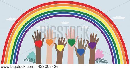 Vector Illustration Of Lgbt Community. Hands Of Different Colors With Rainbow Hearts. Crowd Of Peopl