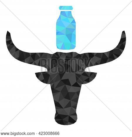 Low-poly Cow Milk Combined With Random Filled Triangles. Triangle Cow Milk Polygonal Symbol Illustra