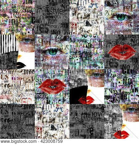 Newspaper Paper Grunge Newsprint Patchwork Seamless Pattern Background. Trendy Pieces Of Newspapers