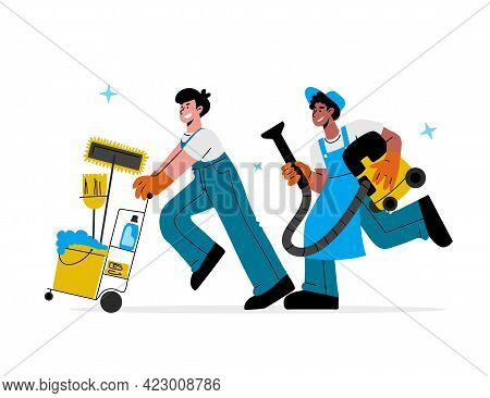 Caucasian, African-american Male Janitors In Uniform With Vacuum Cleaner, Trolley Cart Run To Cleanu