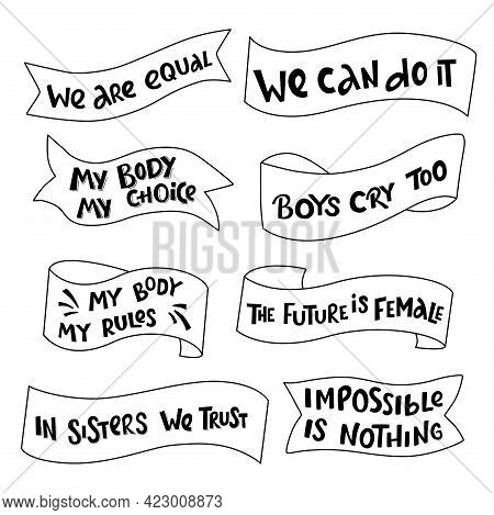 Feminist And Women Empowerment, Diversity Handwritten Lettering Phrase Slogan. Quotes, Type, Font Wi
