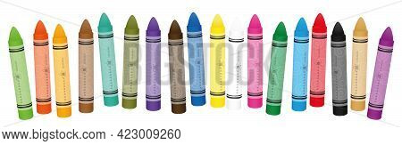 Wax Or Oil Pastel Crayons For Painting And Drawing, Shuffled Colorful Set. Isolated Vector Illustrat