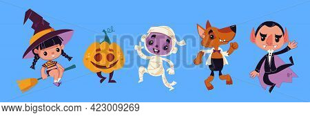 Halloween Monsters. Halloween Characters - Dracula, Pumpkin, Mummy, Wolf, Witch. Vector Illustration