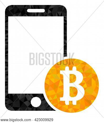 Low-poly Mobile Bitcoin Payment Designed Of Scattered Filled Triangles. Triangle Mobile Bitcoin Paym