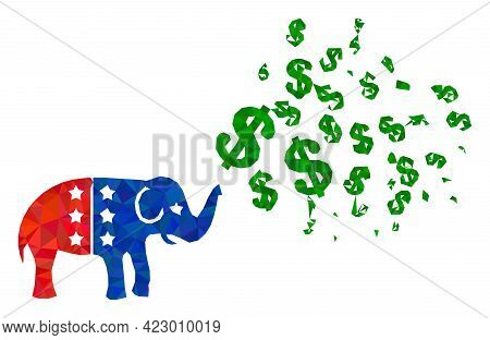 Low-poly Elephant Stimulus Dollars Combined With Randomized Filled Triangles. Triangle Elephant Stim