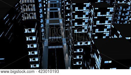 Top Night View Of An Empty City With Blue Reflective Glass Buildings With Windows Illuminated With W
