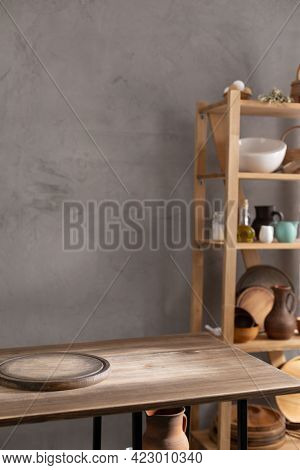 Pizza cutting board for homemade bread cooking or baking on table. Wooden tabletop background. Bakery concept in kitchen