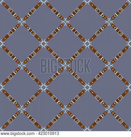 Seamless Abstract Pattern Of Leather Straps In The Form Of A Grid For Prints On Fabrics, Packaging,