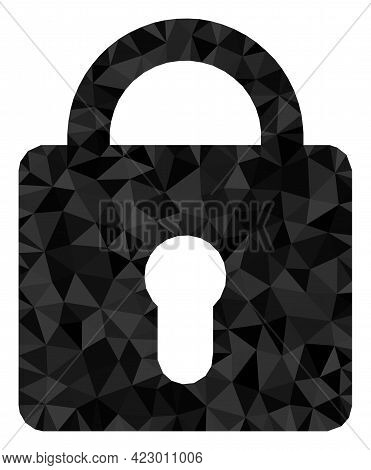 Low-poly Lock Combined With Chaotic Filled Triangles. Triangle Lock Polygonal 2d Illustration. Lock