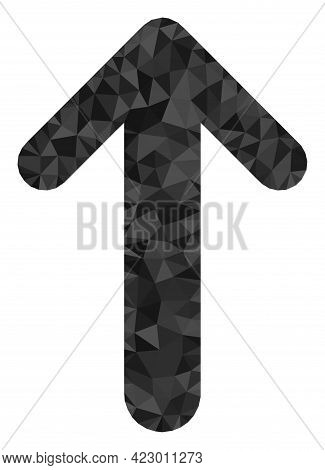 Low-poly Arrow Up Combined Of Chaotic Filled Triangles. Triangle Arrow Up Polygonal Icon Illustratio