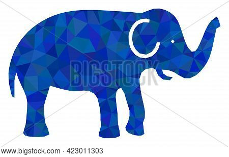 Low-poly Elephant Designed With Scattered Filled Triangles. Triangle Elephant Polygonal 2d Illustrat