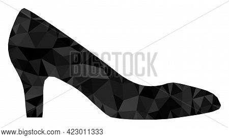 Low-poly Lady Shoe Combined With Randomized Filled Triangles. Triangle Lady Shoe Polygonal Symbol Il