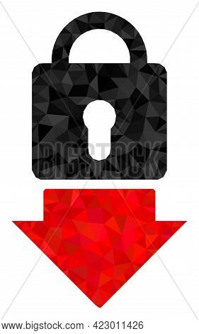 Low-poly Lock Down Combined With Randomized Filled Triangles. Triangle Lock Down Polygonal 2d Illust