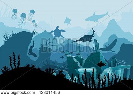Underwater Ruins Of The Old City. Silhouette Of Blue Sea Background. Natural Underwater Seascape, Ma