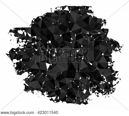 Low-poly Charcoal Textured Spot Combined With Random Filled Triangles. Triangle Charcoal Textured Sp