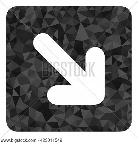 Low-poly Right Down Direction Designed With Random Filled Triangles. Triangle Right Down Direction P