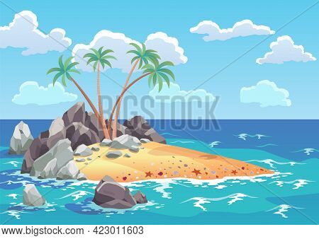 Pirate Ocean Island In Cartoon Style. Palm Trees On Uninhabited Sea Island. Tropical Landscape With