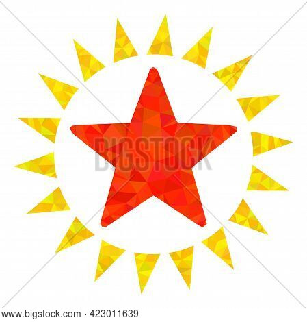 Low-poly Star Shine Constructed With Chaotic Filled Triangles. Triangle Star Shine Polygonal Symbol
