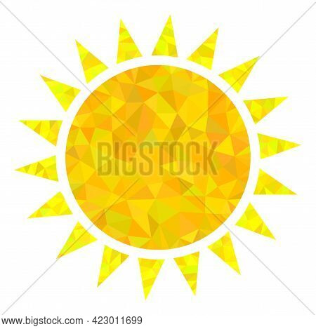 Low-poly Sun Designed With Randomized Filled Triangles. Triangle Sun Polygonal Symbol Illustration.