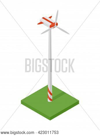 Isometric Wind Turbine. Concept Of Clean Energy. Clean Ecological Power. Eco Renewable Electric Ener