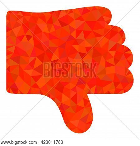 Low-poly Dislike Thumb Designed With Scattered Filled Triangles. Triangle Dislike Thumb Polygonal Ic