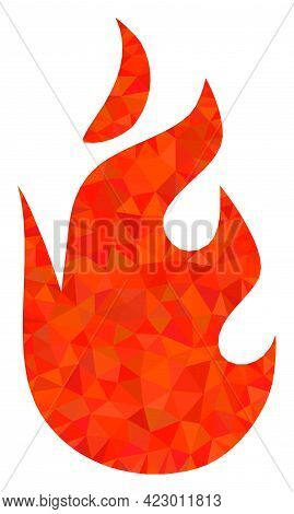 Low-poly Fire Flame Constructed With Chaotic Filled Triangles. Triangle Fire Flame Polygonal Icon Il