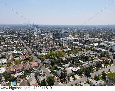 Aerial View Of Beverly Hills, City In Californias Los Angeles County. Home To Many Hollywood Stars.