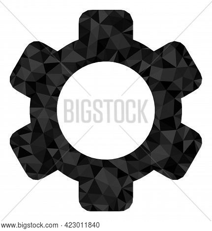Low-poly Gear Combined From Chaotic Filled Triangles. Triangle Gear Polygonal Icon Illustration. Gea