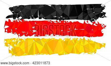 Low-poly Germany Flag Combined With Scattered Filled Triangles. Triangle Germany Flag Polygonal Icon