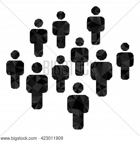 Low-poly People Crowd Combined Of Random Filled Triangles. Triangle People Crowd Polygonal Icon Illu