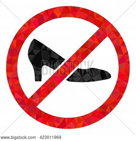 Low-poly Forbidden Shoes Constructed Of Random Filled Triangles. Triangle Forbidden Shoes Polygonal